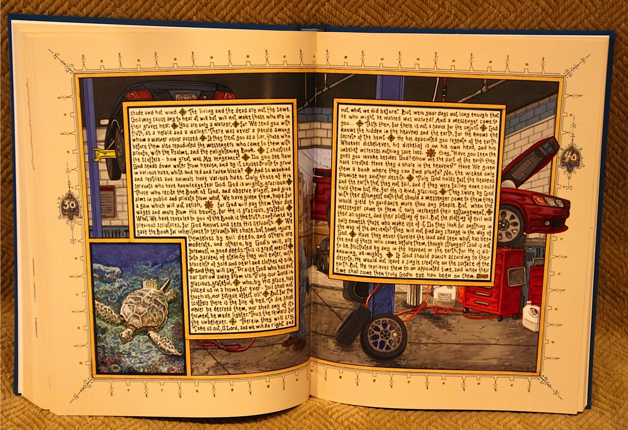 """UPDATE: Artist Sandow Birk will be back in Eugene on Thursday, March 9, to give another artist talk about his monumental volume, """"American Qur'an,"""" in the closing days of its exhibit at the Jordan Schnitzer Museum of Art"""