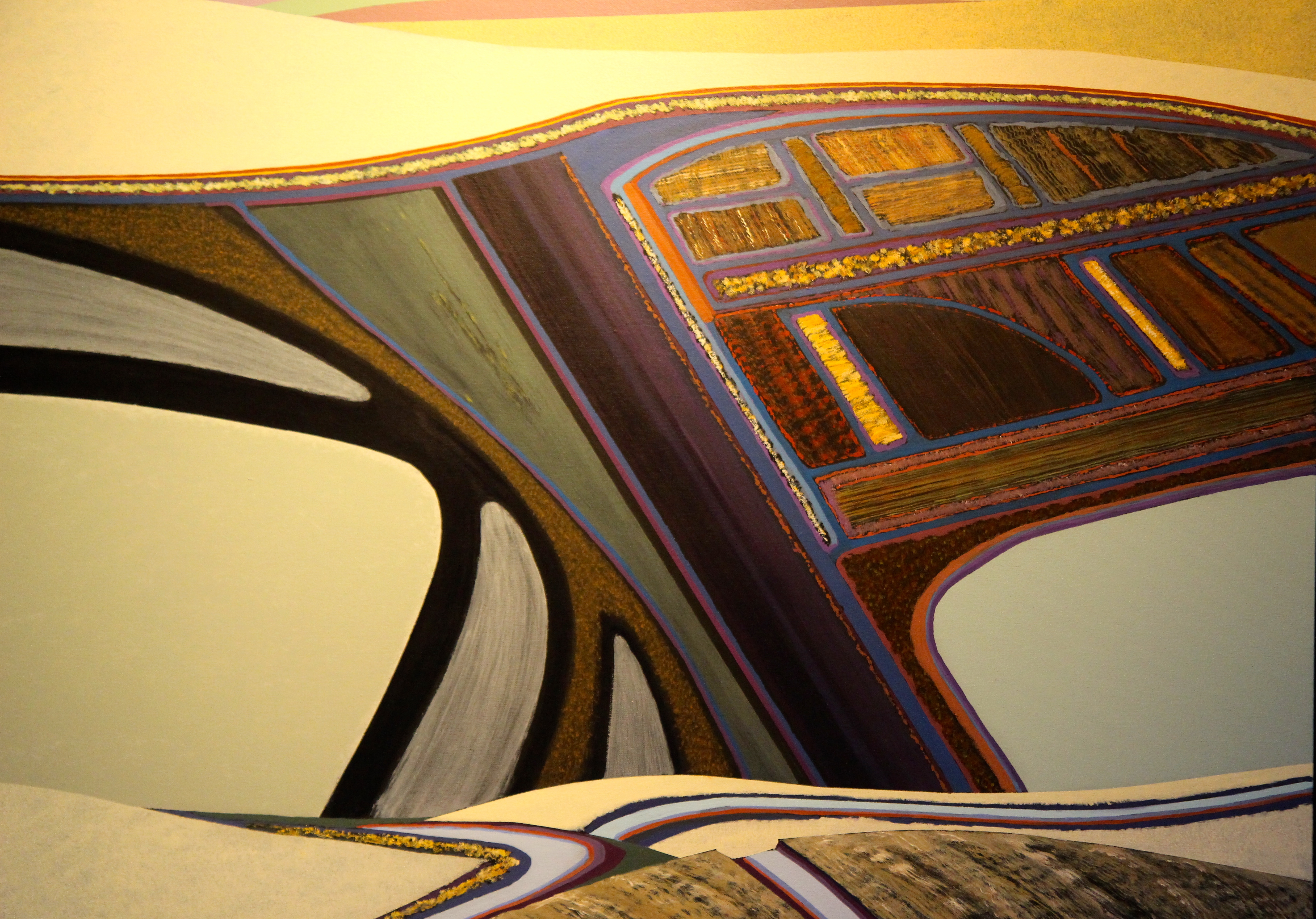 Fantastic, geometric landscapes make up a Jon Jay Cruson exhibit now showing at the White Lotus Gallery